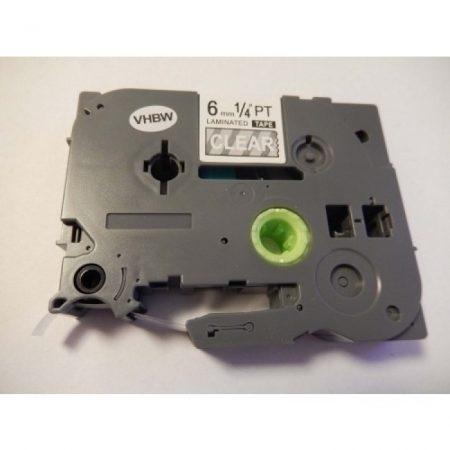 Brother TZe-115 P-Touch utángyártott feliratozószalag kazetta 6mm * 8m átlátszó alapon fehér