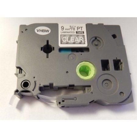 Brother TZe-125 P-Touch utángyártott feliratozószalag kazetta 9mm * 8m átlátszó alapon fehér