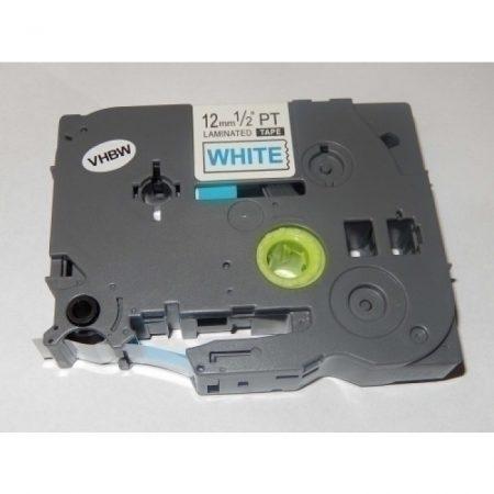 Utángyártott Brother TZE-233 fehér alapon kék betű P-Touch kompatibilis laminált szalag 12mm*8m