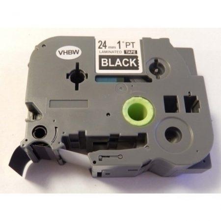 Utángyártott Brother TZE-355 24mm*8m fehér betű / fekete alap laminált feliratozószalag