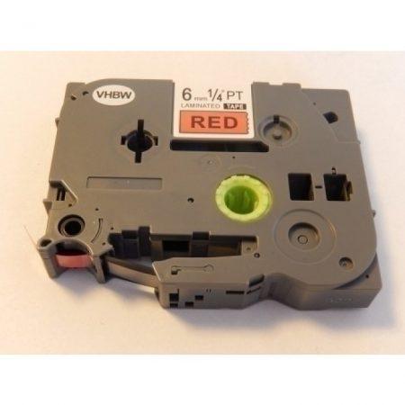 Brother TZe-411 P-Touch utángyártott feliratozószalag kazetta 6mm * 8m piros alapon fekete