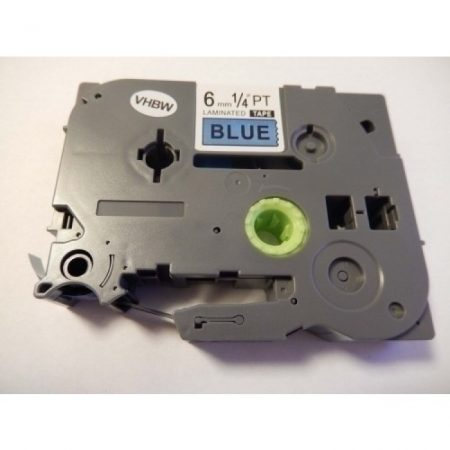 Brother TZE-511 utángyártott 6mm * 8m kék alapon fekete szín feliratozószalag kazetta