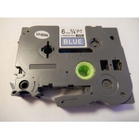 Brother TZE-515 utángyártott kék alapon fehér 6mm * 8m feliratozószalag kazetta