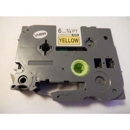 Brother TZe-611 P-Touch utángyártott feliratozószalag kazetta 6mm * 8m sárga alapon fekete
