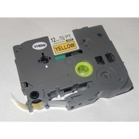 Brother TZE-631 utángyártott 12mm * 8m sárga alapon fekete feliratozószalag kazetta