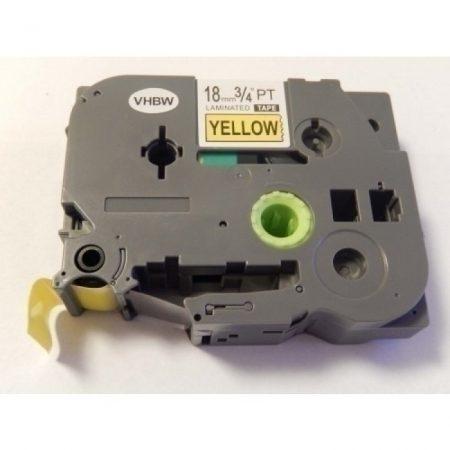 Brother TZE-641 Sárga alapon fekete utángyártott 18mm * 8m feliratozószalag kazetta