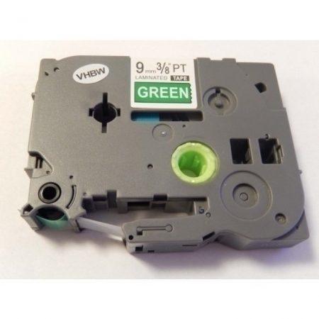 Brother TZE-725 utángyártott zöld alapon fehér nyomtatás 9mm * 8m feliratozószalag kazetta