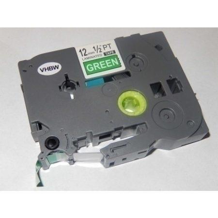 Brother TZe-735 P-Touch utángyártott feliratozószalag kazetta 12mm * 8m zöld alapon fehér
