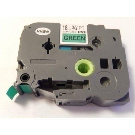Brother TZE-741 kompatibilis utángyártott 18mm * 8m zöld alapon fekete feliratozószalag kazetta