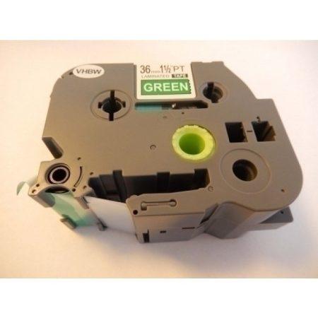 Brother TZE-765 utángyártott zöld alapon fehér 36mm * 8m feliratozószalag kazetta
