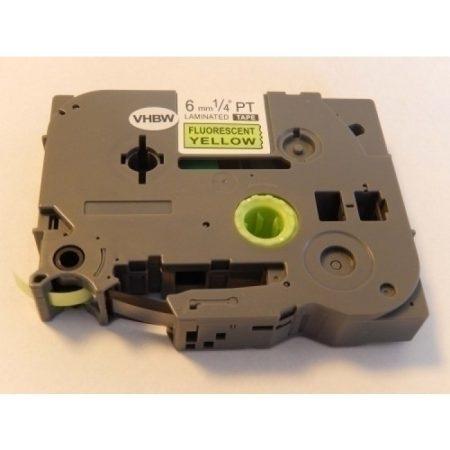 Brother TZe-C11 P-Touch utángyártott feliratozószalag kazetta 6mm * 8m fluoreszkáló sárga alapon fekete