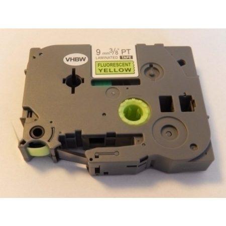 Brother TZe-C21 P-Touch utángyártott feliratozószalag kazetta 9mm * 8m fluoreszkáló sárga alapon fekete