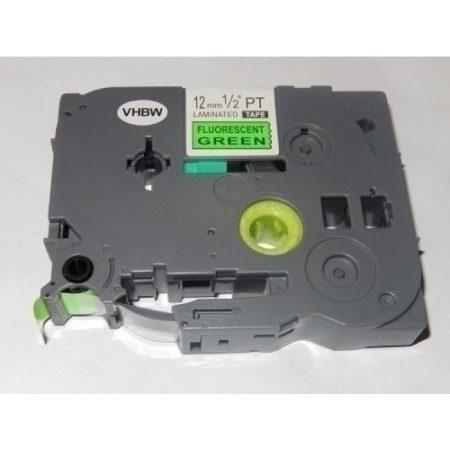Brother TZE-D31 utángyártott fluoreszkáló zöld alapon fekete 12mm * 5m feliratozógép szalag kazetta