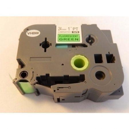 Brother TZE-D51 utángyártott fluoreszkáló zöld alapon fekete 24mm * 8m feliratozószalag kazetta