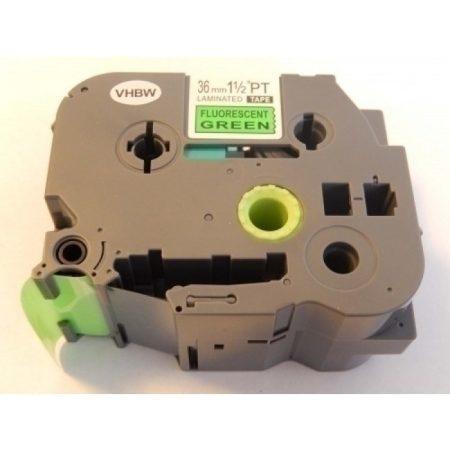 Brother TZE-D61 utángyártott fluoreszkáló zöld alapon fekete 36mm * 8m feliratozószalag kazetta