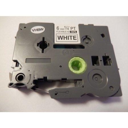 Brother TZe-FX211 P-Touch kompatibilis utángyártott rugalmas szalagkazetta 6mm * 8m fehér alapon fekete