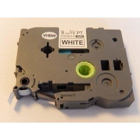 Brother TZe-FX221 P-Touch utángyártott feliratozószalag kazetta 9mm * 8m fehér alapon fekete