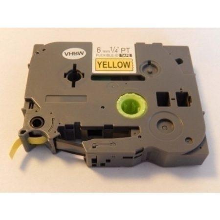 Brother TZe-FX611 P-Touch utángyártott feliratozószalag kazetta 6mm * 8m sárga alapon fekete
