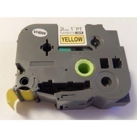 Brother TZe-FX651 P-Touch utángyártott feliratozószalag kazetta 24mm * 8m sárga alapon fekete