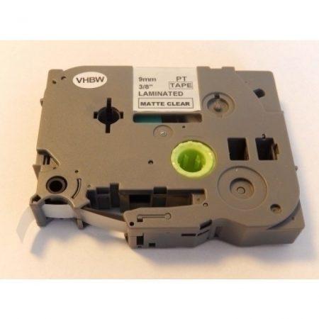 Brother TZe-M21 P-Touch utángyártott feliratozószalag kazetta 9mm * 8m matt átlátszó alapon fekete