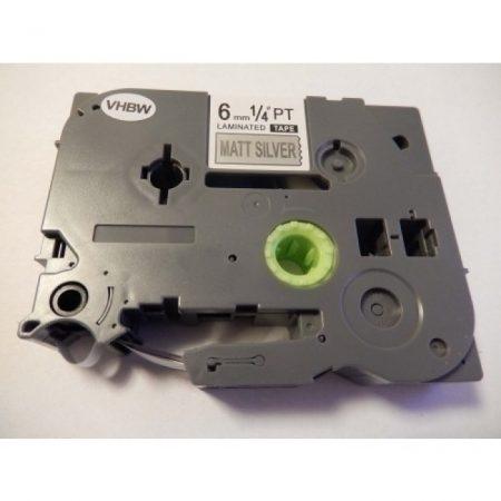 Brother TZE-M911 utángyártott Matt Ezüst alapon Fekete 6mm * 8m feliratozószalag kazetta