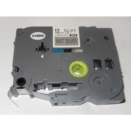 Brother TZe-M931 P-Touch utángyártott feliratozószalag kazetta 12mm * 8m Matt Ezüst alapon Fekete