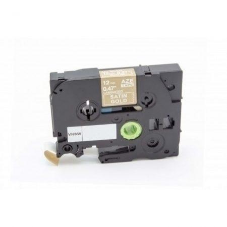 Brother TZe-MQ835 P-Touch utángyártott feliratozószalag kazetta 12mm * 8m szatén arany alapon fehér