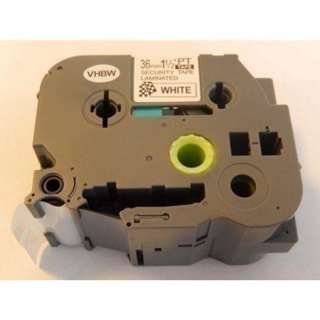 Brother TZe-SE6 P-Touch kompatibilis utángyártott biztonsági feliratozószalag kazetta 36mm * 8m fehér alapon fekete