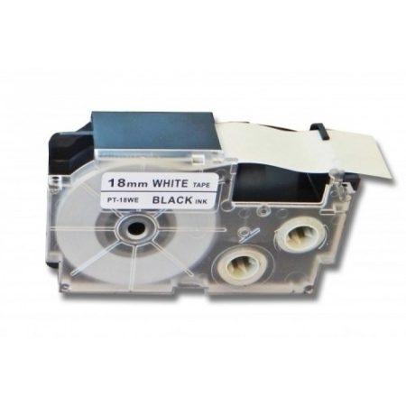 Casio XR-18WE1 PT-18WE1 kompatibilis utángyártott 18mm*8m fekete-fehér feliratozószalag kazetta