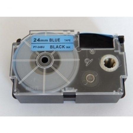 Casio XR-24BU1 utángyártott feliratozószalag kazetta kék alapon fekete nyomtatás 24 mm * 8m