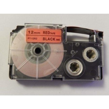 Casio XR-12RD utángyártott feliratozószalag kazetta piros alapon fekete nyomtatás 12 mm * 8m