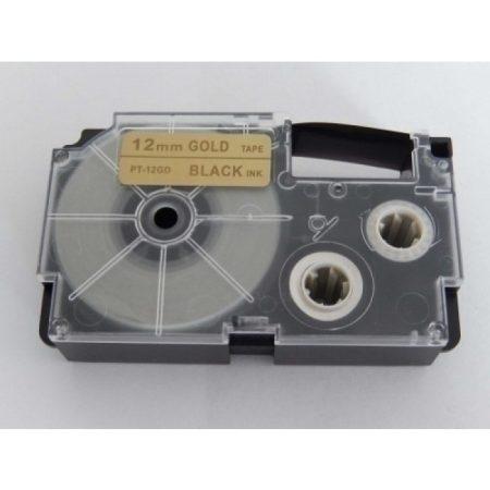 Casio XR-12GD utángyártott feliratozószalag kazetta arany alapon fekete nyomtatás 12 mm * 8m