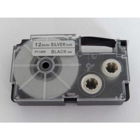 Casio XR-12SR utángyártott feliratozószalag kazetta ezüst alapon fekete nyomtatás 12 mm * 8m