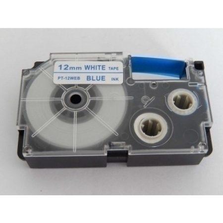 Casio XR-12WEB utángyártott feliratozószalag kazetta fehér alapon kék nyomtatás 12 mm * 8m