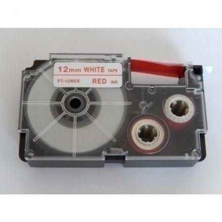 Casio XR-12WER1 utángyártott feliratozószalag kazetta fehér alapon piros nyomtatás 12 mm * 8m