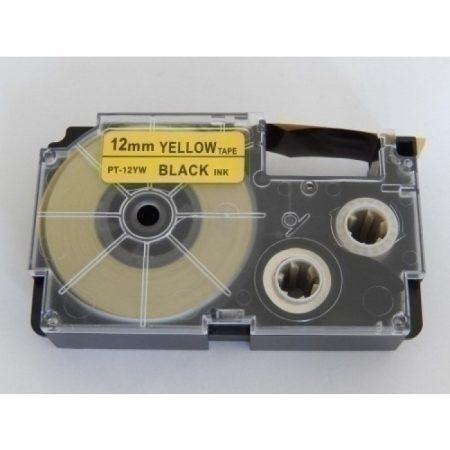 Casio XR-12YW1 utángyártott feliratozószalag kazetta sárga alapon fekete nyomtatás 12 mm * 8m