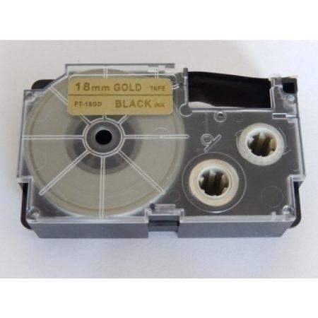 Casio XR-18GD1 utángyártott feliratozószalag kazetta arany alapon fekete nyomtatás 18 mm * 8m