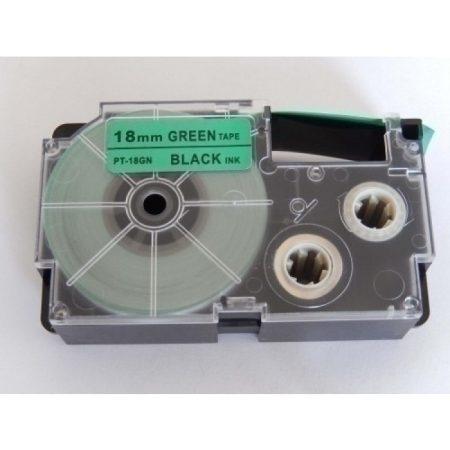 Casio XR-18GN1 utángyártott feliratozószalag kazetta zöld alapon fekete nyomtatás 18 mm * 8m