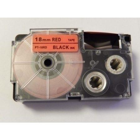 Casio XR-18RD utángyártott feliratozószalag kazetta piros alapon fekete nyomtatás 18 mm * 8m