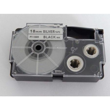Casio XR-18SR utángyártott feliratozószalag kazetta ezüst alapon fekete nyomtatás 18 mm * 8m