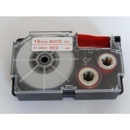 Casio XR-18WER1 utángyártott feliratozószalag kazetta fehér alapon piros nyomtatás 18 mm * 8m