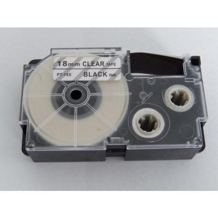 Casio XR-18X utángyártott feliratozószalag kazetta átlátszó alapon fekete nyomtatás 18 mm * 8m