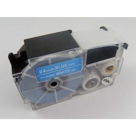 Casio XR-24ABU utángyártott feliratozószalag kazetta kék alapon fehér nyomtatás 24 mm * 8m