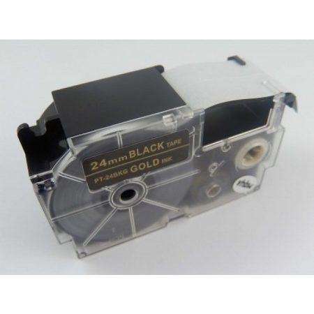 Casio XR-24BKG utángyártott feliratozószalag kazetta fekete alapon arany nyomtatás 24 mm * 8m