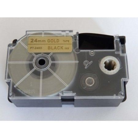 Casio XR-24GD1 utángyártott feliratozószalag kazetta arany alapon fekete nyomtatás 24 mm * 8m