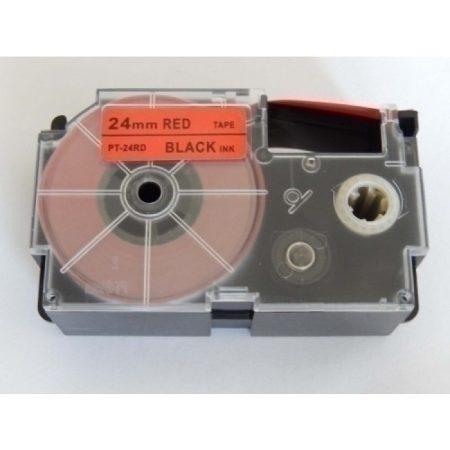 Casio XR-24RD1 utángyártott feliratozószalag kazetta piros alapon fekete nyomtatás 24 mm * 8m