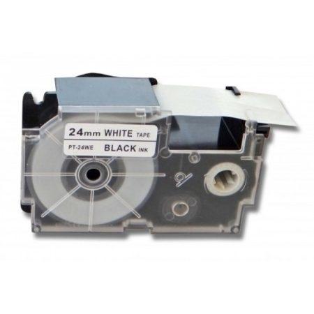 Casio XR-24WE1 Utángyártott 24mm*7m fekete-fehér címke szalag