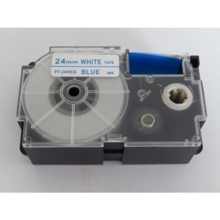Casio XR-24WEB utángyártott feliratozószalag kazetta fehér alapon kék nyomtatás 24 mm * 8m