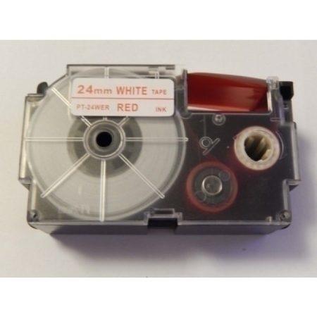 Casio XR-24WER utángyártott feliratozószalag kazetta fehér alapon piros nyomtatás 24 mm * 8m