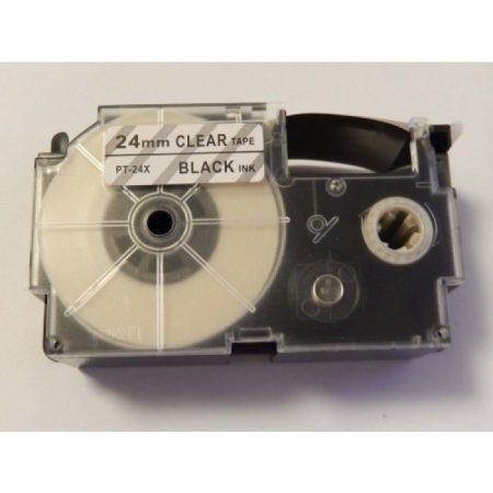 Casio XR-24X utángyártott feliratozószalag kazetta átlátszó alapon fekete nyomtatás 24 mm * 8m